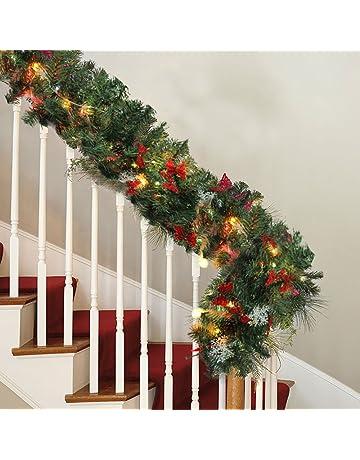 Christmas Lighted Garlands.Amazon Co Uk Wreaths Garlands