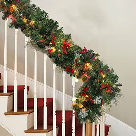 Christmas Garlands.Zhongye 9ft Christmas Garlands Illuminated Led Light Snowflake Pine Cone Bow Ornaments Decoration Xmas Festive Wreath Stairs Fireplaces 1pack