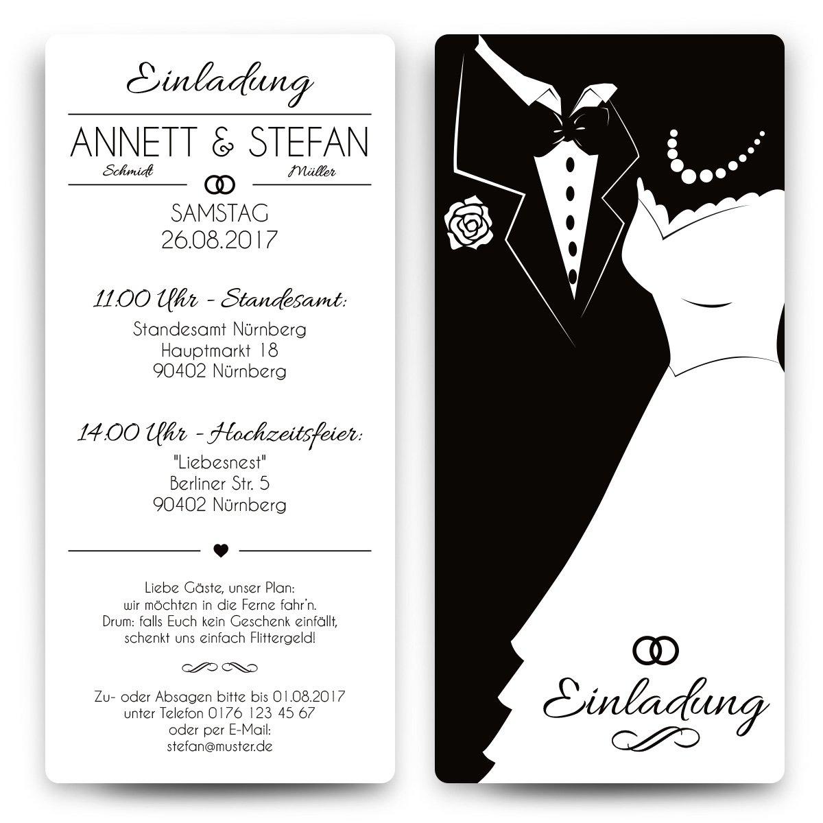 Einladungskarten hochzeit 80 stück schwarz weiß