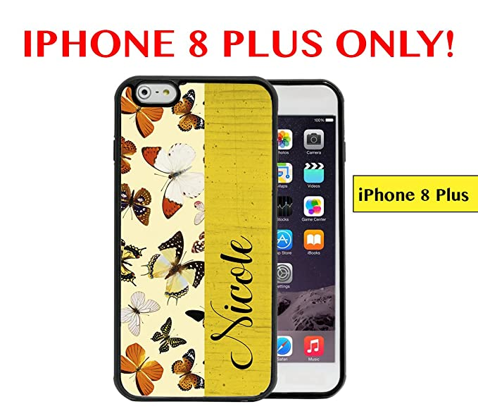 IPHONE 8 PLUS - Custom Monogram Name Personalized (NICOLE) Butterflies Mustard Yellow Wallpaper Block
