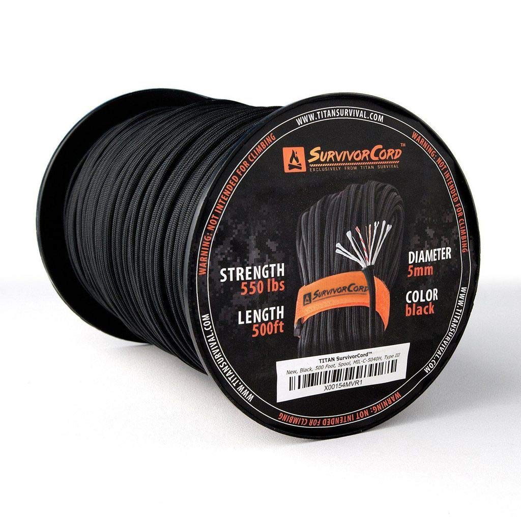 Titan SurvivorCord Spool | Black, 500 FEET - Patented MIL-SPEC 550 Paracord (3/16'' Diameter) with Integrated Fishing Line, Fire-Starter, and Utility Wire. Free Paracord Project eBooks Included.