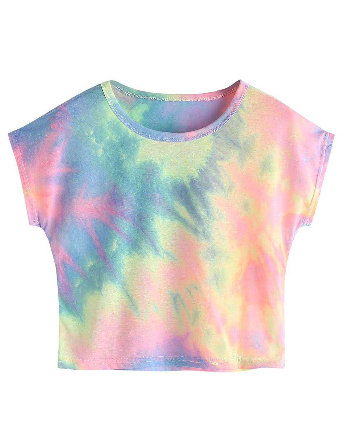 80s Costumes, Outfit Ideas- Girls and Guys SweatyRocks Womens Tie Dye Letter Print Crop Top T Shirt $13.99 AT vintagedancer.com