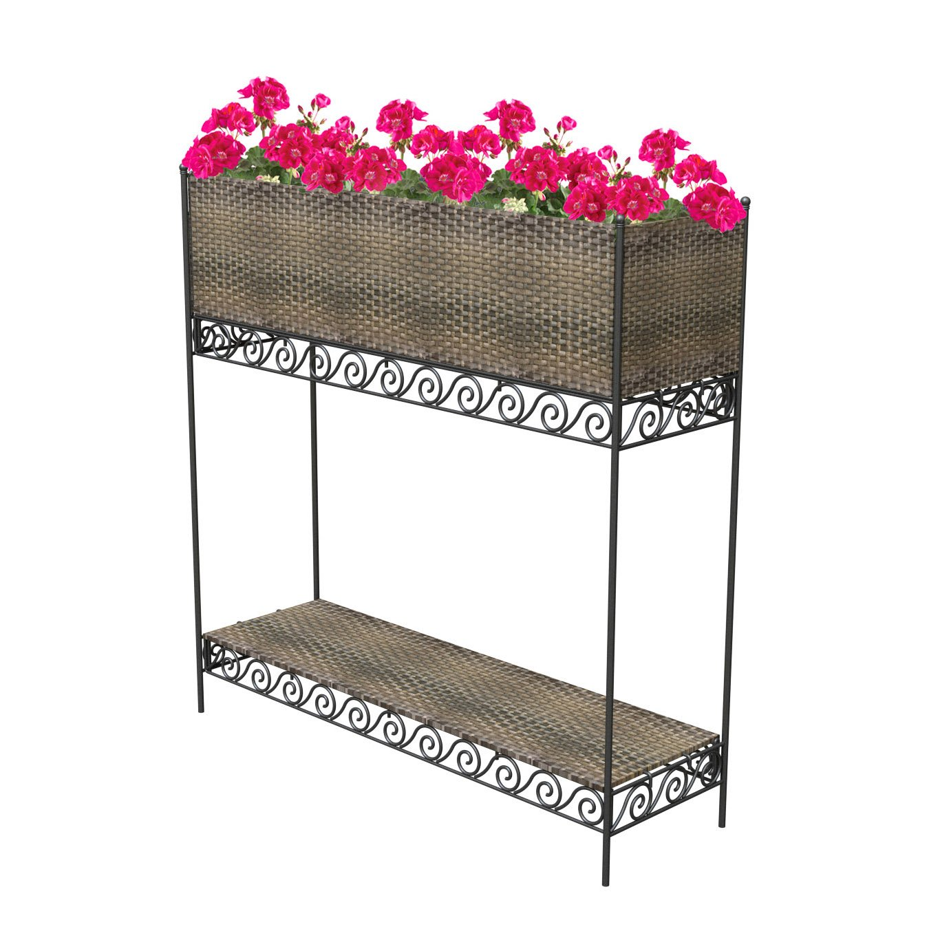 Panacea 82316 Woven Resin Wicker Rectangle Planter on Stand