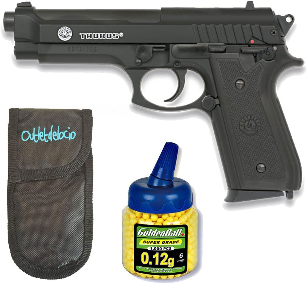 Outletdelocio. Pack Pistola Airsoft Taurus PT92 BAX. Corredera Metalica. Calibre 6mm + Funda Portabalines + 1000 Bolas. 15439/21993/23054