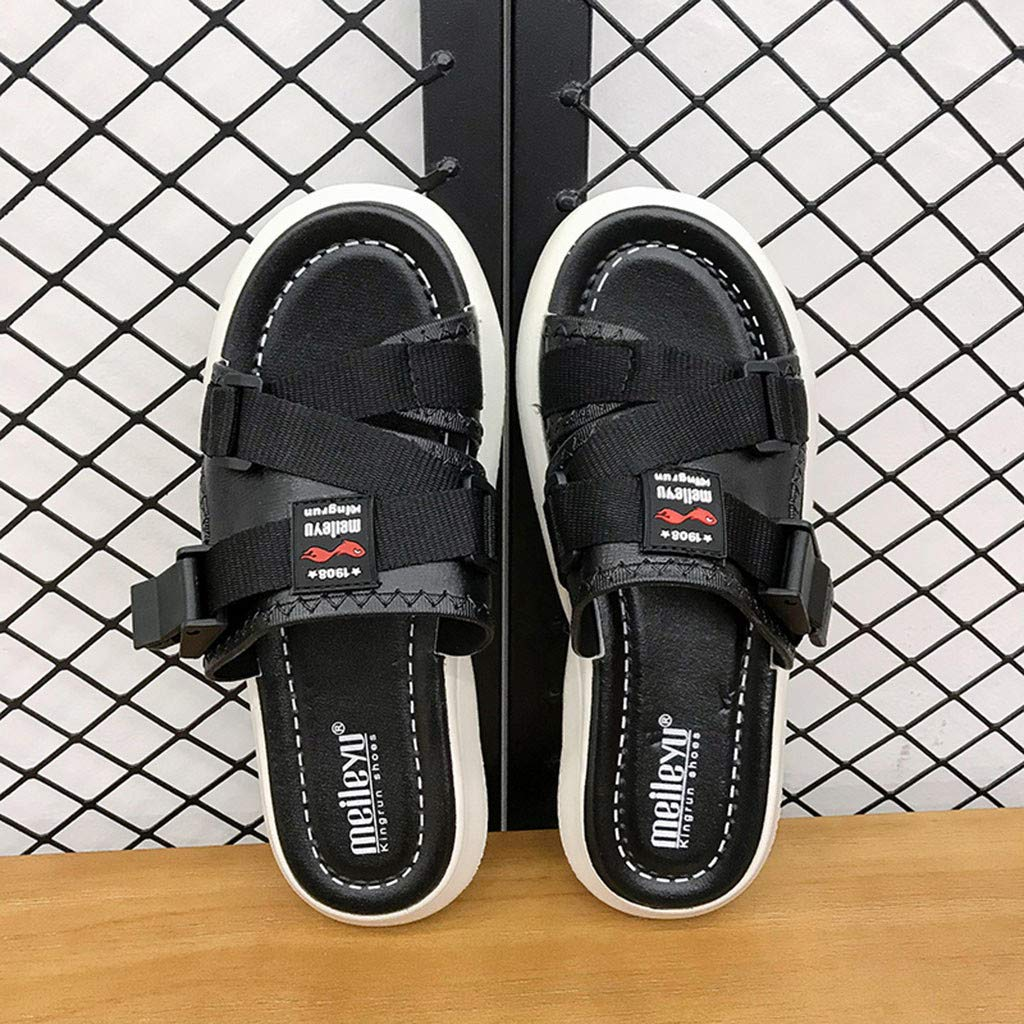 AOJIAN Shoes Women's Sandals Fashion Buckle Beach Flip Flop Slide Slipper Clog Mule Black by AOJIAN Shoes (Image #6)