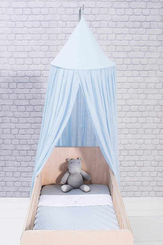 Blauer Betthimmel f/ür Babys /& Kinder Jollein Schleier f/ür Kinderbett//Babybett Betthimmel als Insektenschutz Moskitonetz VintageBaby Blue 245cm Schlafzimmerdekoration blau