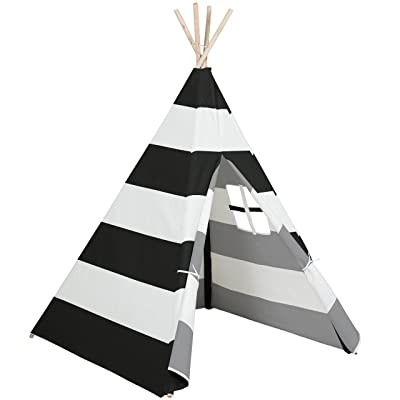 Best Choice Products 6ft Kids Cotton Canvas Play Tent Playhouse w/ Carrying Bag - White/Black: Toys & Games
