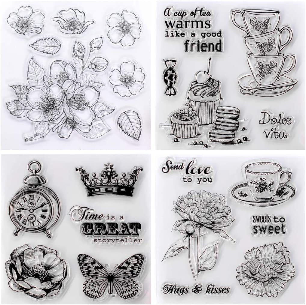 KWELLAM 4pcs//Lot Flowers Cherry Blossoms Love Hugs Kisses Sweet Tea Cup Stamp Rubber Clear Stamps for Photo Album Decorative Card Making and DIY Scrapbooking