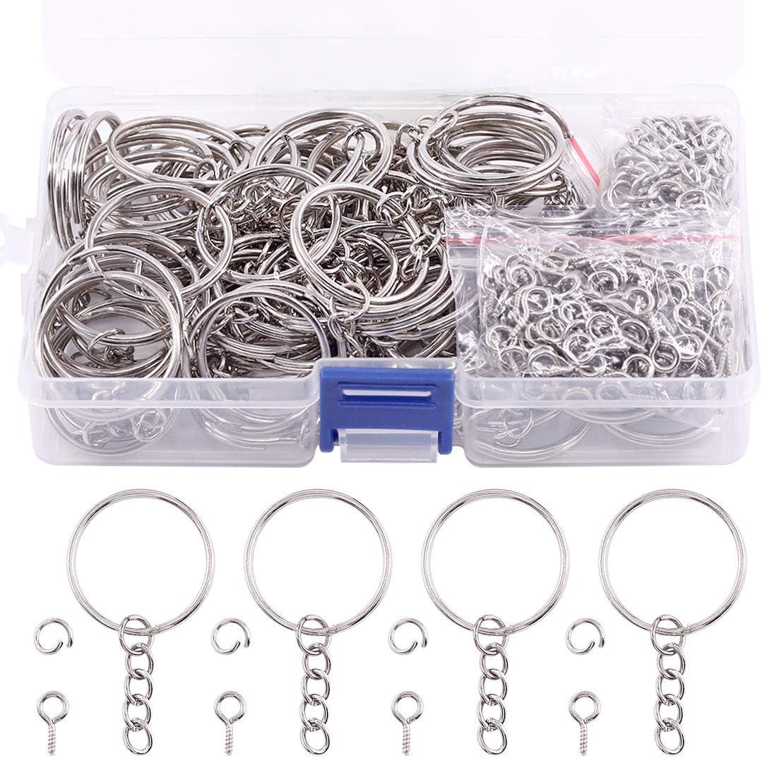 Swpeet 450Pcs 3//5 15mm Bronze Key Chain Rings Kit 15mm, Bronze Including 150Pcs Keychain Rings with Chain and 150Pcs Jump Ring with 150Pcs Screw Eye Pins Bulk for Jewelry Findings Making