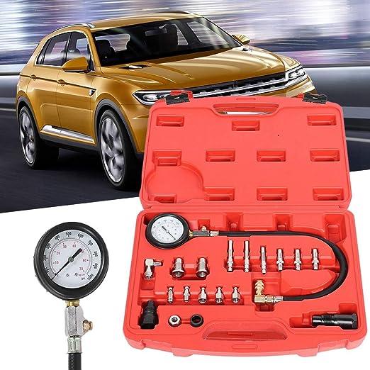 Kit tester di compressione,Kit set di test di pressione del cilindro di diagnosi del cilindro di compressione del motore diesel TDI CDI del trattore 17Pcs