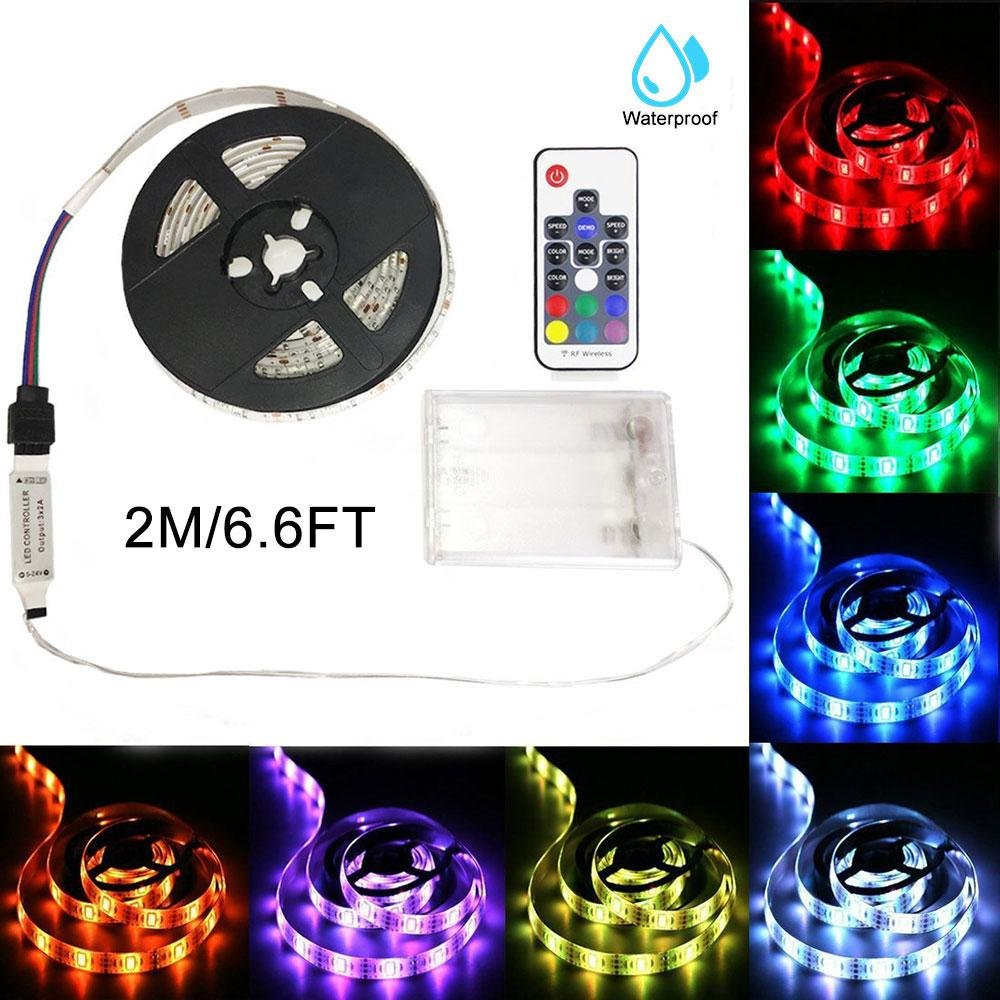 Battery Powered LED Strip Lights, Leegoal 2M/6.6FT Waterproof Flexible Rope Lights, Color Changing Strip Lights with 17 Key Remote Control, DIY Decoration for Home/Hotel/Bar/Bicycle wheel