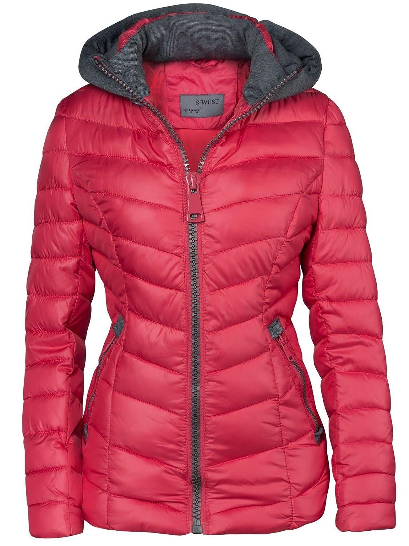 Chaqueta de invierno corta con capucha para mujer, chaqueta de esquí
