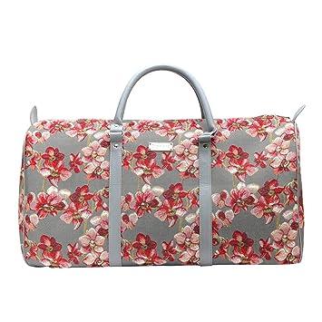 Bolsa de Viaje Grande de Moda Signare para Mujer en Tela de Tapiz Bolsa de Viaje para el Fin de Semana Orquídea