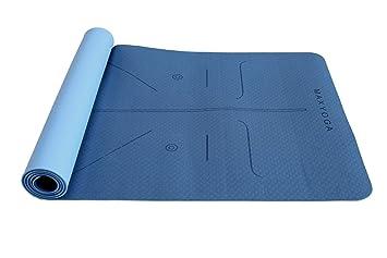 MaxDirect Esterilla Yoga con Sistema de Alineación y Marcados. Colchoneta Yoga Mat Antideslizante y Ligera de Material Ecológico TPE. Tamaño Ideal ...