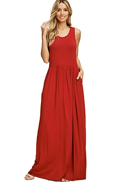 Annabelle Women\'s Casual Tank Top Sleeveless Racerback Loose Plain Maxi  Dresses