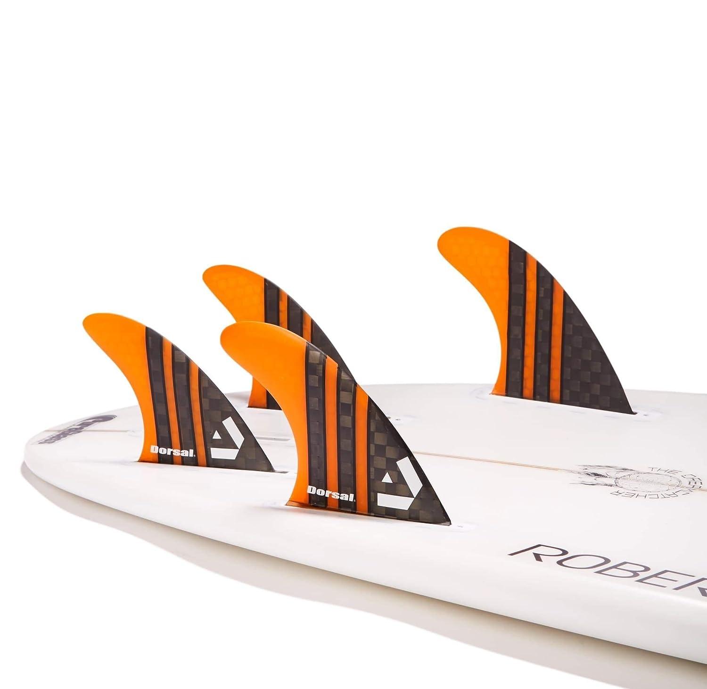 DORSAL/® Surfboard Fins Carbon Hexcore Quad Set 4 Honeycomb FUT Base Orange