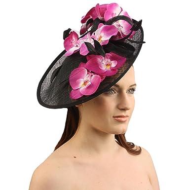 Orchid Floral Feather Handmade Derby Headband Fascinator Millinery Church  Black 81264bdd70a