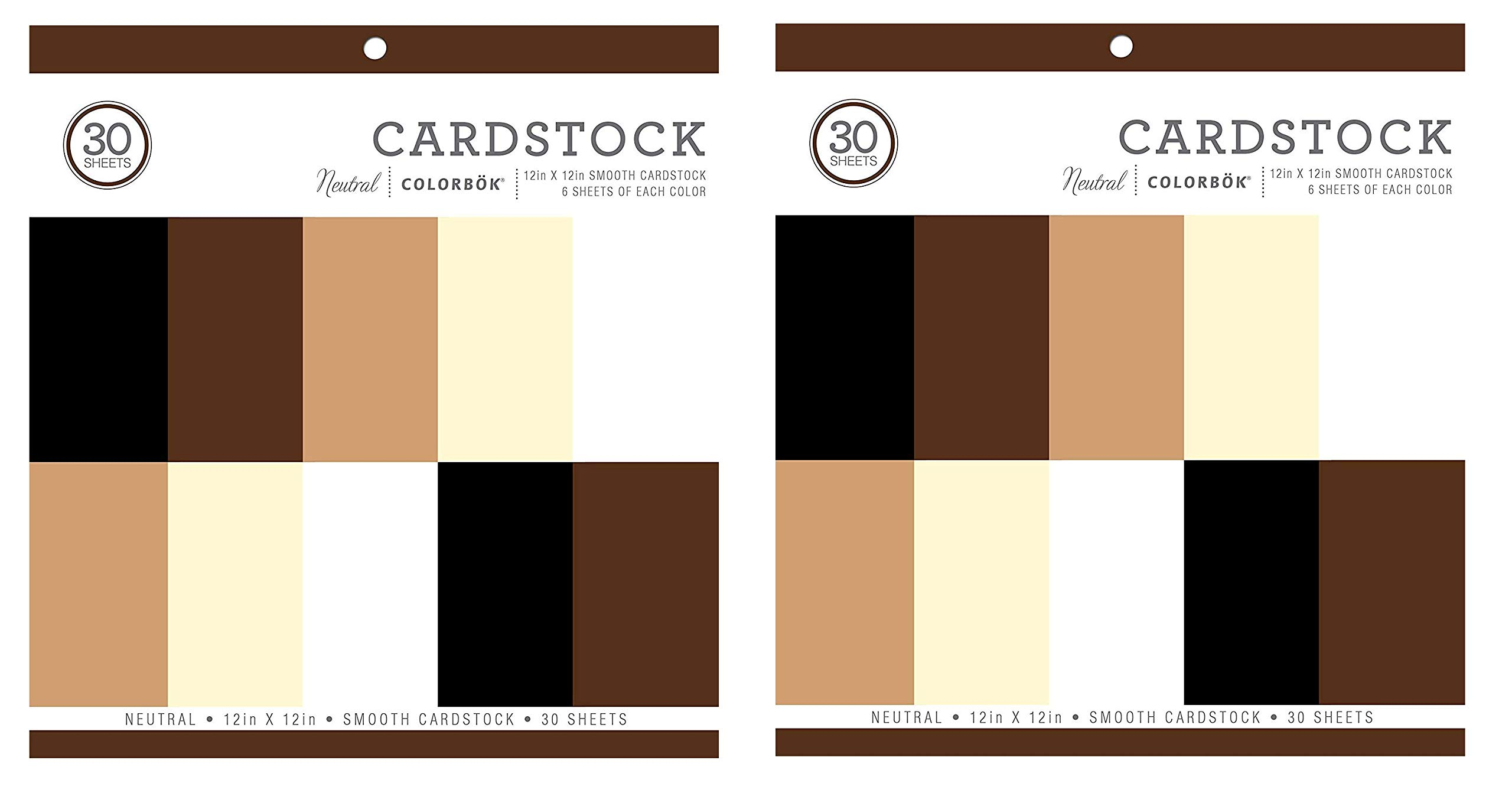 Colorbok Neutral Smooth Cardstock Paper Pad 12'' x 12 (2-Pack) by Colorbok