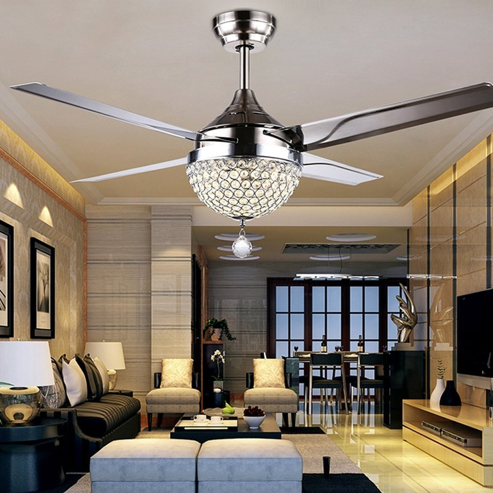 RainierLight Modern Crystal Ceiling Fan Lamp LED 3 Changing Light 4 Stainless Steel Blades with Remote Control for Living Room/Bedroom 44-Inch by RainierLight