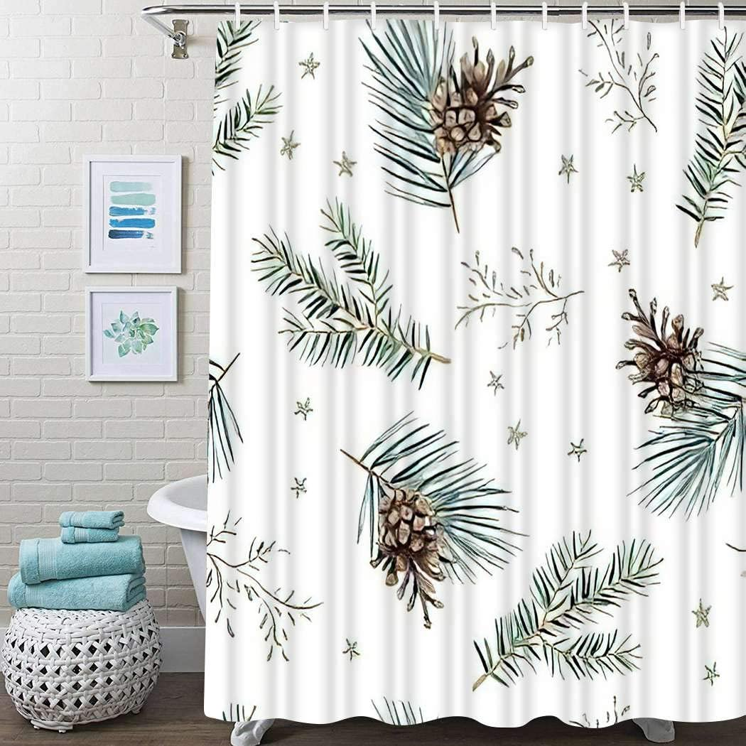 Guftay Winter Woodland Shower Curtain, Christmas Cones Green Pine Fir Twigs Stars White Nature Shower Curtain, Waterproof Fabric for Bathroom Decor Shower Curtains Set with Hooks, 60