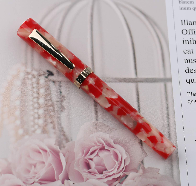 plumilla fina de iridio 0.5mm Pluma estilogr/áfica acr/ílica Moonman N2 pluma de caligraf/ía con convertidor de recarga de tinta mini lapicera de bolsillo Koi Red