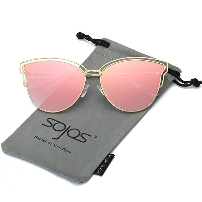 de0d880e9 SOJOS Womens Fashion Double Wire Flash Mirrored Lens Cateye Sunglasses  SJ1049 with Gold Frame/Pink