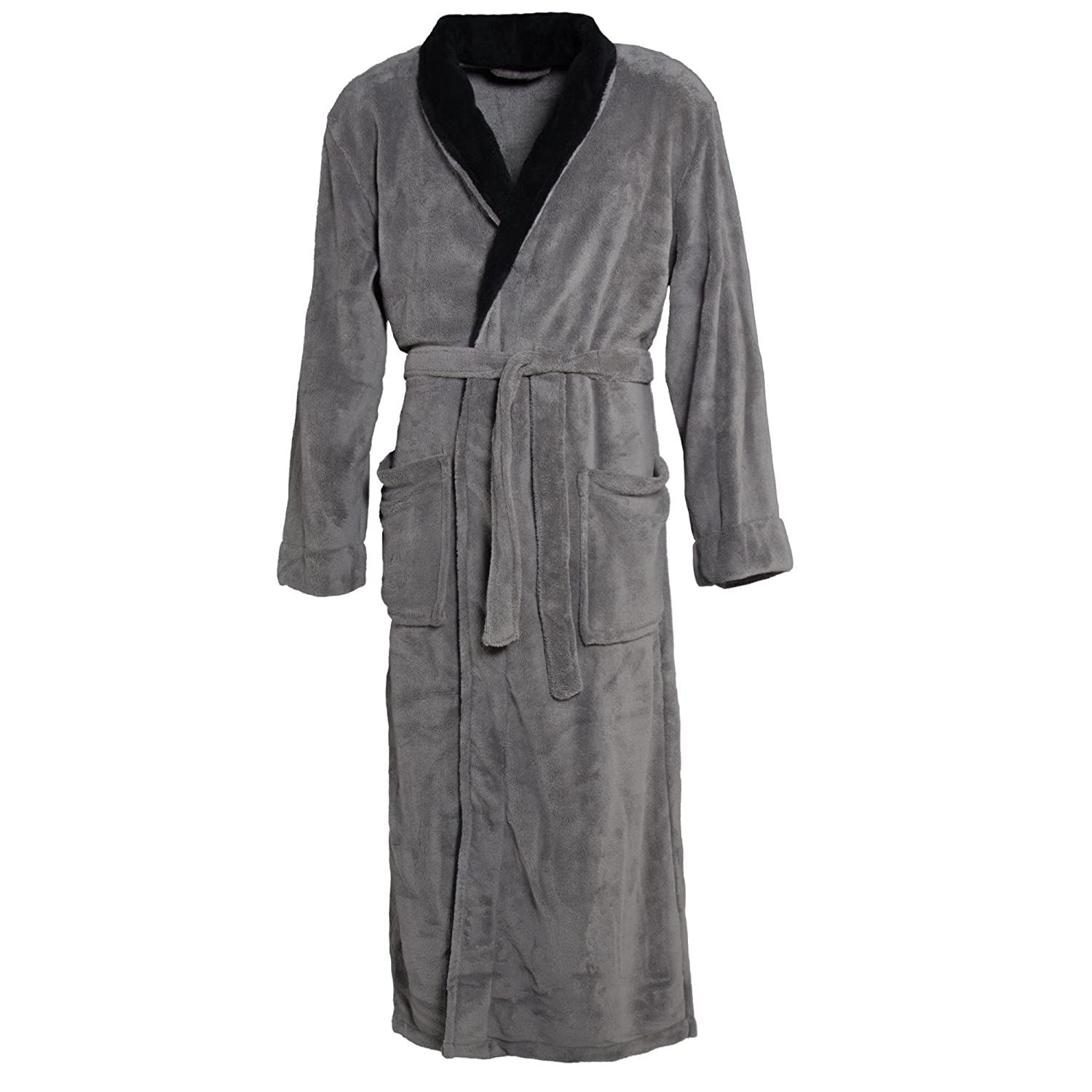 CelinaTex Women's and Men's Bathrobe with Shawl Collar Dressing Gown Coral Fleece Warm Soft and Comfortable, Nevada 2 Colour, Microfibre, anthrazit mit schwarz, Small 4312