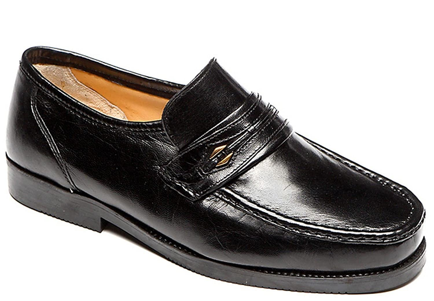 Mens Leather Wide Fit Moccasin Slip On Dress Formal Shoes Size 6-12:  Amazon.co.uk: Shoes & Bags