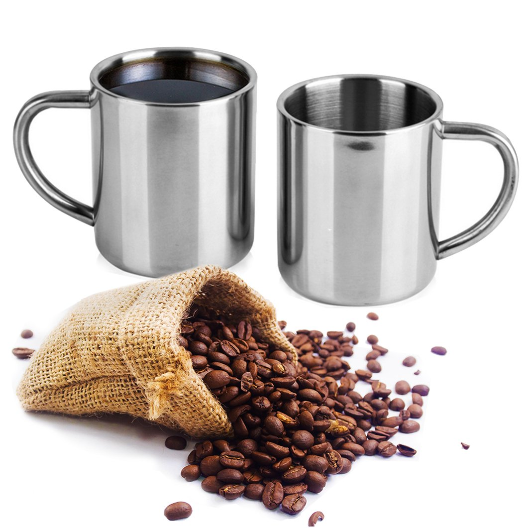 Stainless Steel Coffee Mug - Double Wall Coffee Cup – Drinking Mug - Insulated Coffee Cup ( 2 Pack ) by Colleta Home