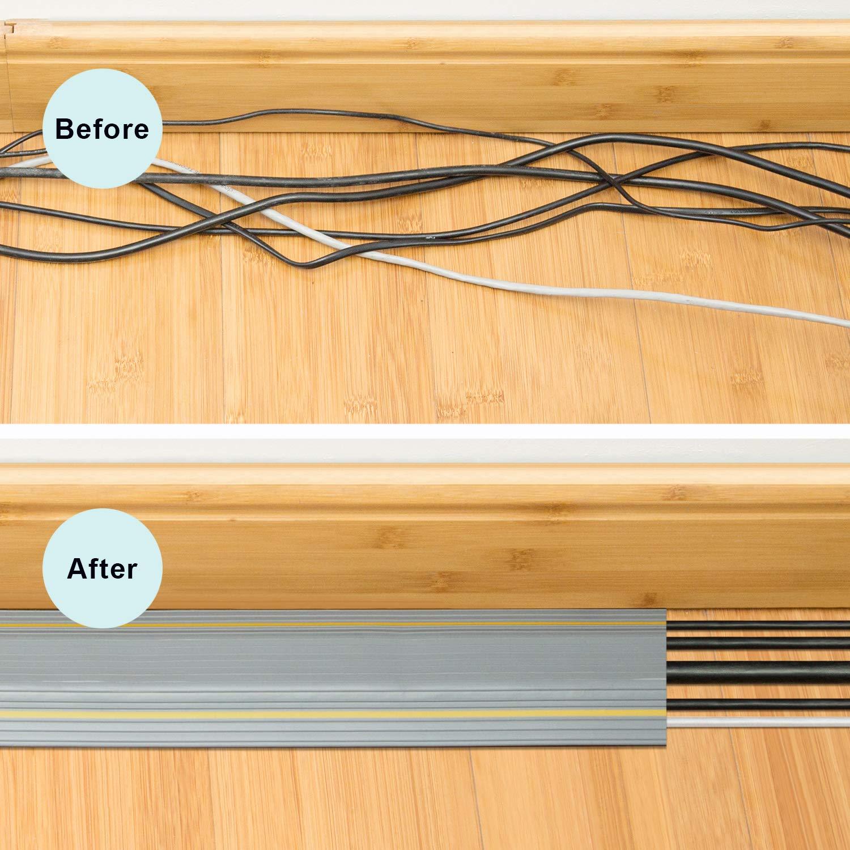 Copertura Cavi A Pavimento Protezione per Cavo a Pavimento da 6.5 Ft 3 Canali Contiene Fili e Cavi