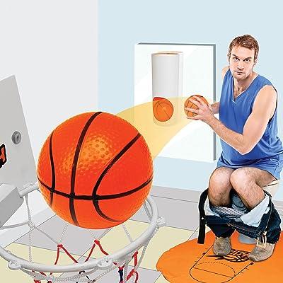 Slam Dunk Bathroom Basketball Game w/ Floor Mat - Shoot Hoops from the John!: Toys & Games