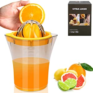 Lemon Squeezer,IPNOW Manual Juicer, Citrus Juicer, Lime Squeezer, Space Saving Orange Juice Squeezer,Lemon Juicer Hand Press with Built-in Measuring Cup and Egg separator, BPA Free,20 Oz