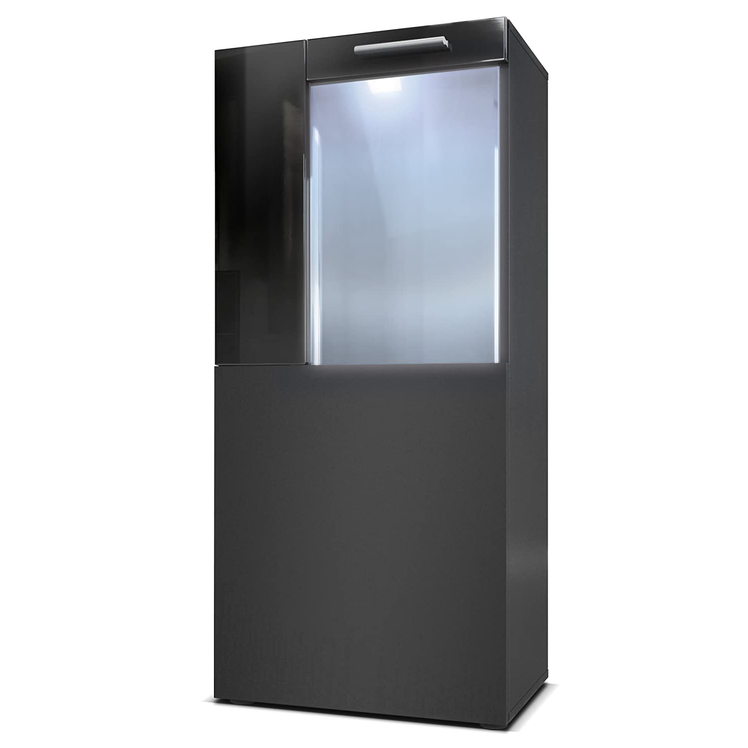 Offsets in Black High Gloss with White LED lights Vladon Tall Display Cabinet Cupboard Movie, Carcass in Black matt Front in Black matt Offsets in Black High Gloss