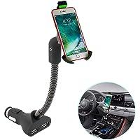 AIRENA Mobiele telefoonhouder voor in de auto, met 3,4 A, 2-poorts USB-sigarettenaansteker, oplader voor iPhone X/8/7/6s…