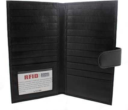 RFID Blocking Leather Bifold Wallet Checkbook Cover ID Money 19 Card Holder