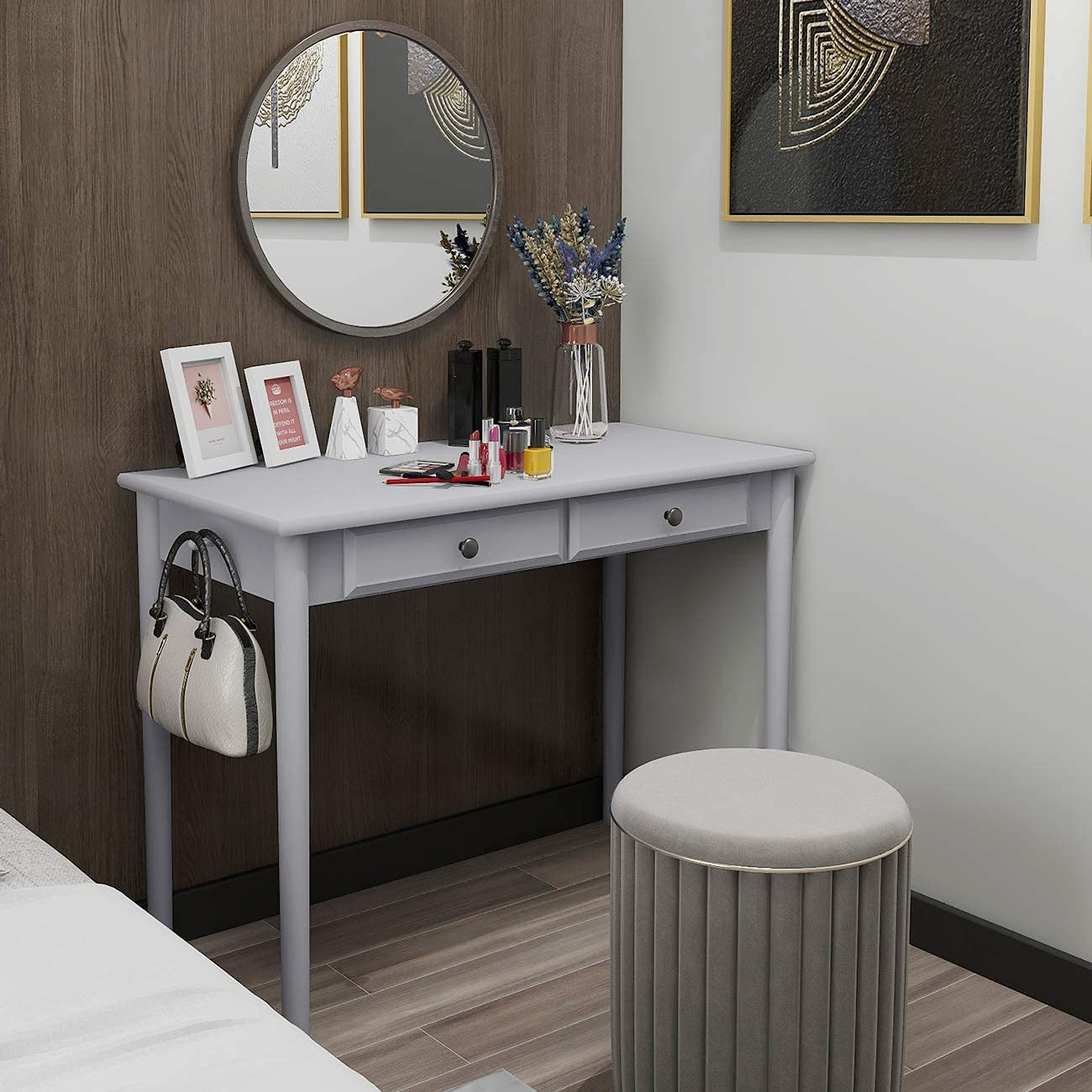 39in Small Grey Wooden Writing Computer Desk for Home Office Study Bedroom, Dressing Vanity Table with 2 Drawers, Laptop Workstation Executive Desk