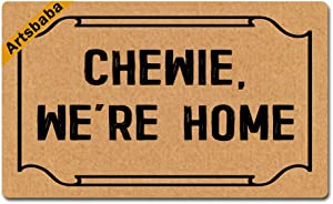 Artsbaba Doormat Chewie, We're Home Door Mat Monogram Non-Slip Rubber Doormat Non-Woven Fabric Floor Mat Indoor Entrance Rug Decor Mat 30 x 18 Inches