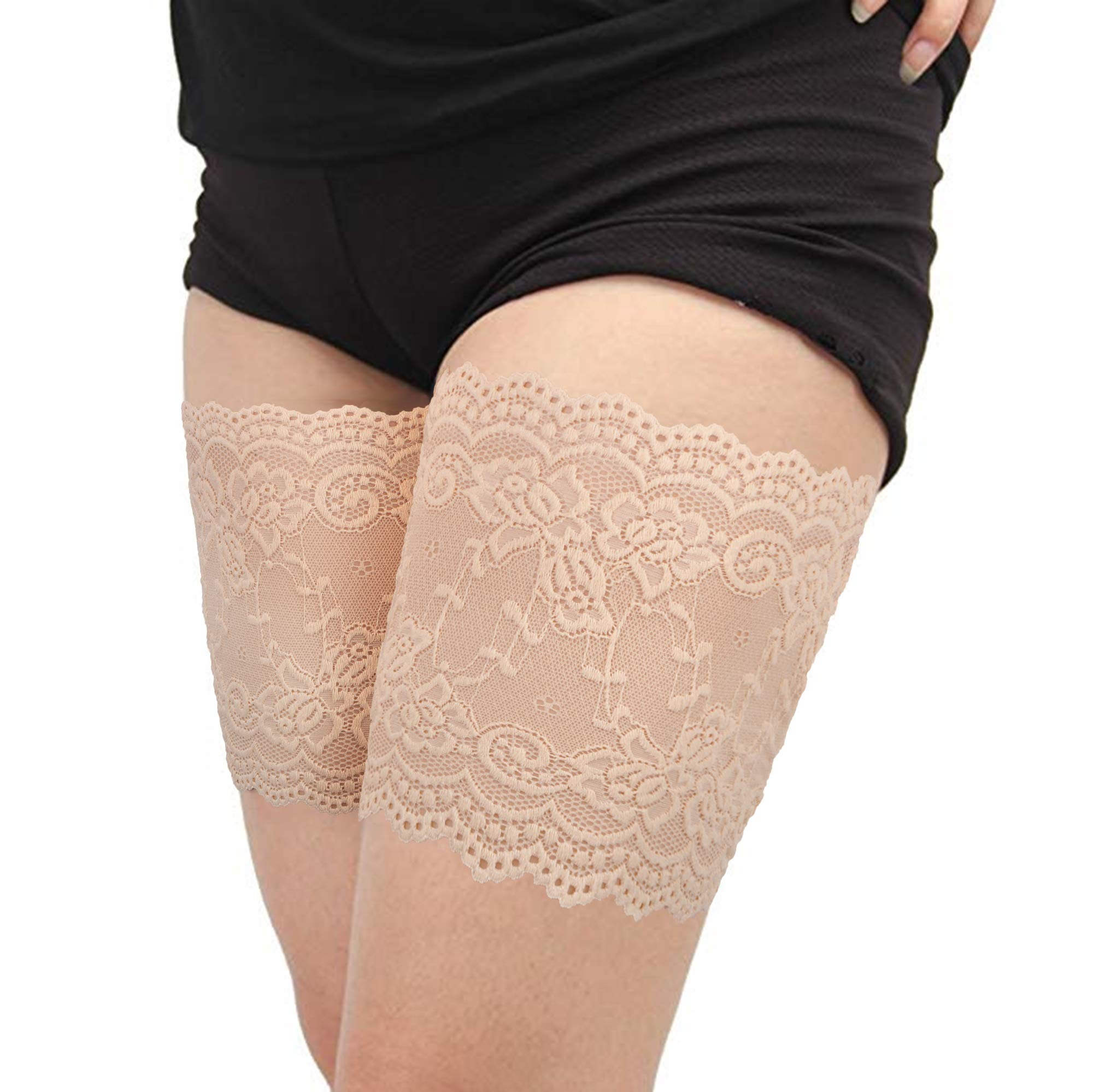 Women Lace Anti-Chafing Prevent Thigh Bands Elastic Sexy Socks 2 pairs C