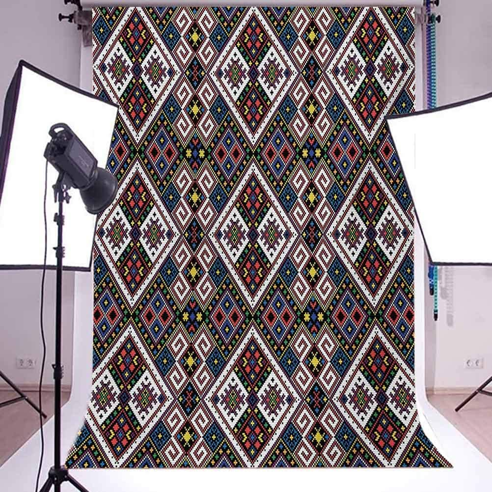 10x12 FT Photo Backdrops,Ukrainian Ornament National Traditional Needlecraft Motifs Ancient Design Background for Kid Baby Boy Girl Artistic Portrait Photo Shoot Studio Props Video Drape Vinyl
