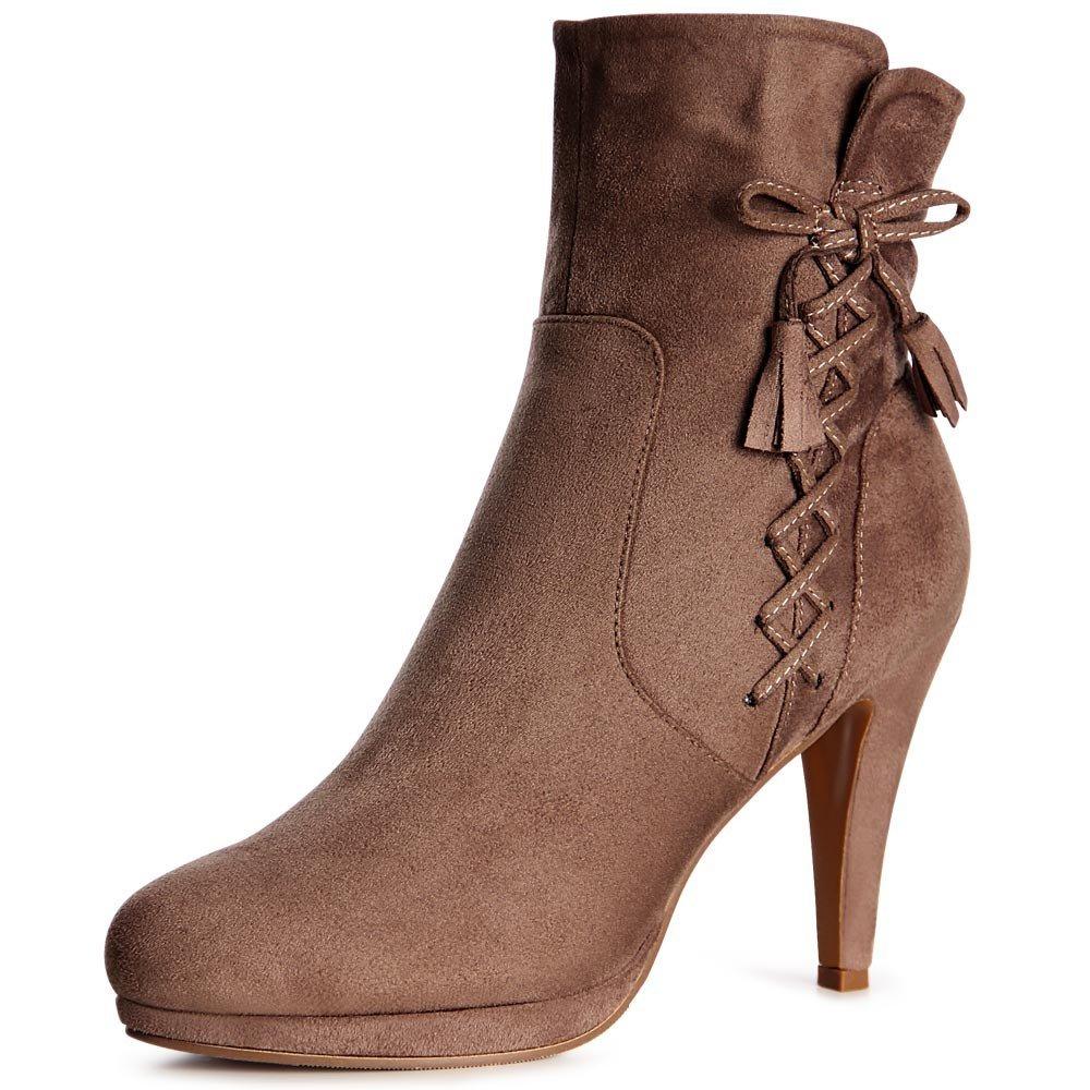 topschuhe24 1012 Damen Plateau Stiefeletten Ankle Boots  36 EU|Hellbraun