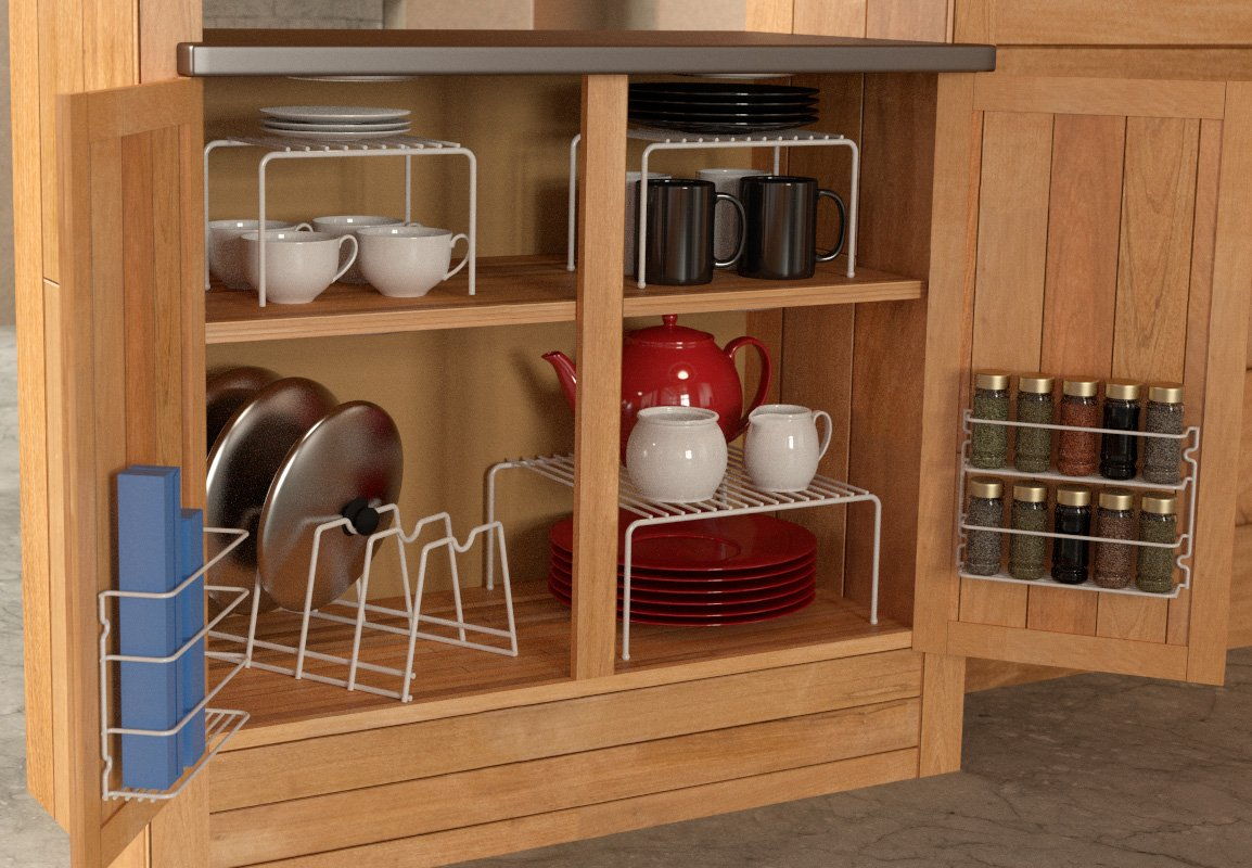 Kitchen Organizer Rack Part - 25: Amazon.com - Grayline 457101, 6 Piece Cabinet Organizer Set, White - Kitchen  Storage And Organization Product Sets