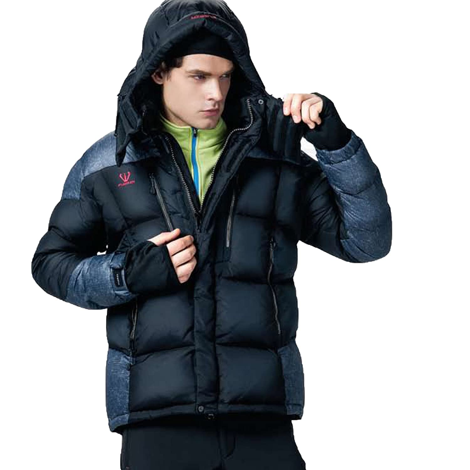 Fuerza Mens Winter Duck Feather Down Hooded Parka Jacket - Black - Small Fuerza North America
