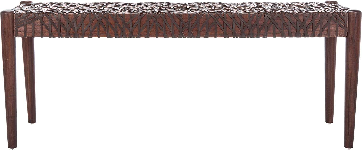 Safavieh Home Bandelier 47-inch Brown Leather Weave Bench