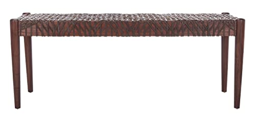 Safavieh BCH1000C Home Bandelier 19-inch Brown Leather Weave Bench