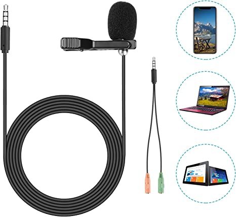Neewer Lavalier Micrófono de Solapa para iPhone, Android, Cámara ...