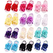 Toptim Baby Girl's Barefoot Sandals Solid Flower for Toddlers