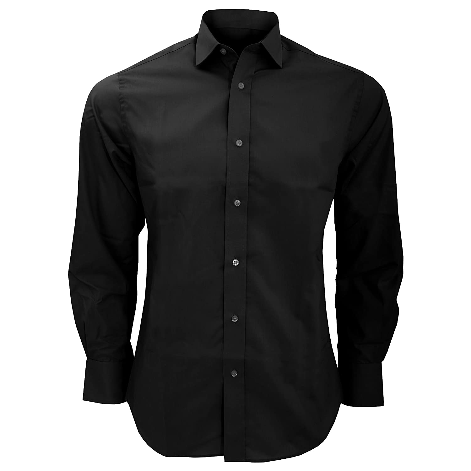 KUSTOM KIT Mens Tailored Fit Long Sleeved Business Shirt (18.5inch) (Black) UTBC600_9
