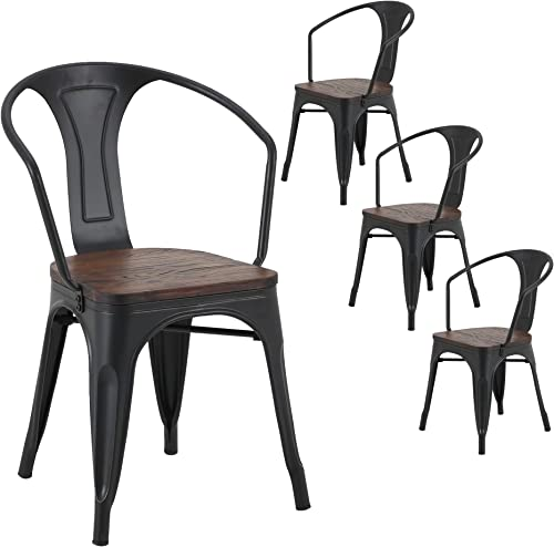 LSSBOUGHT Tolix Style Metal Dining Chair Indoor-Outdoor Use Kitchen Chairs Stackable Arm Chairs Set of 4 Black