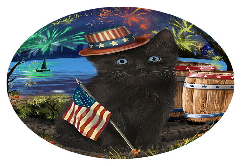 Doggie of the Day 4th of July Independence Day Fireworks Black Cat at the Lake Oval Envelope Seals OVE60404 (20)