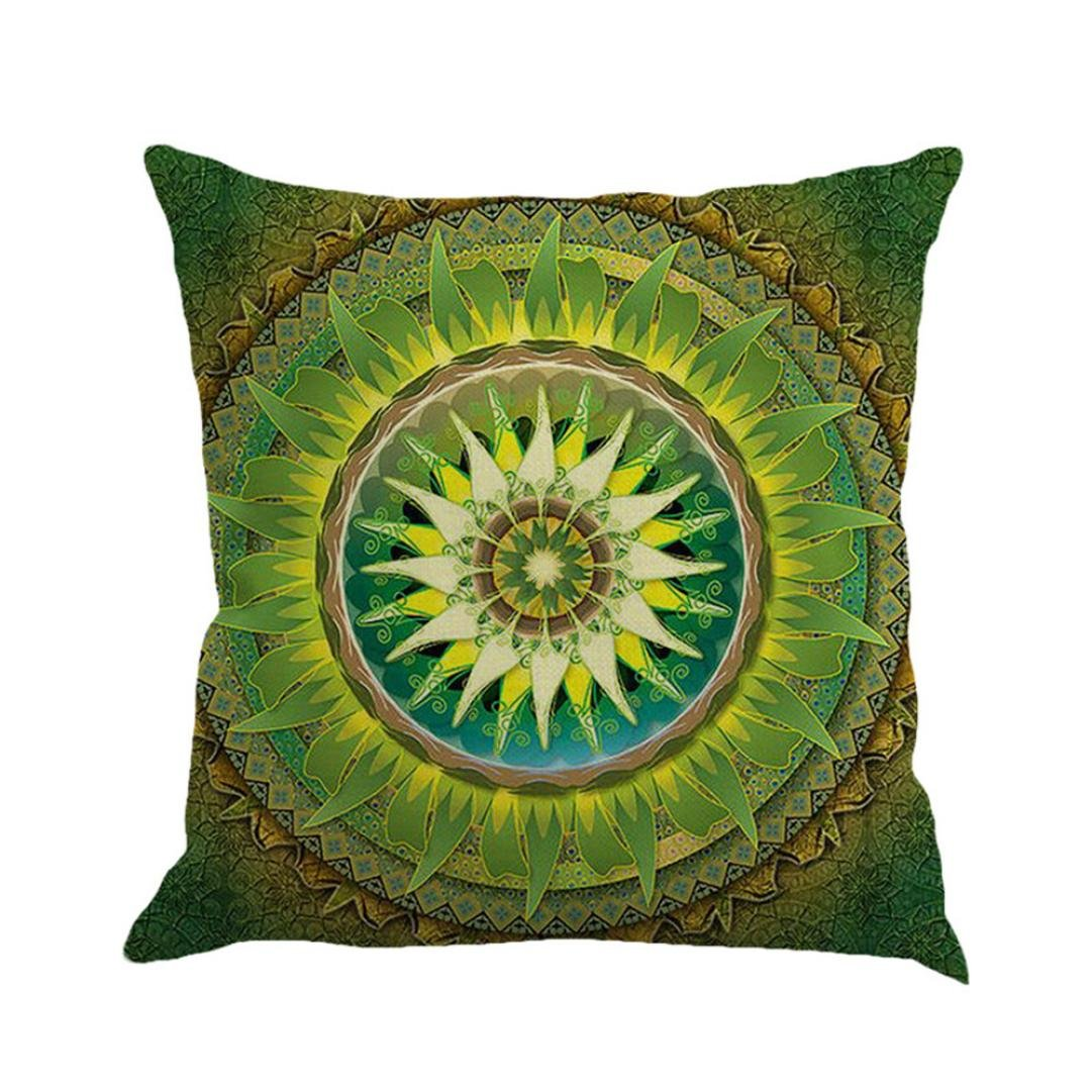 MIARHB Ruhiku GW Geometry Painting Linen Cushion Cover Throw Pillow Case Sofa Home Decor (C, 18 × 18 Inch)